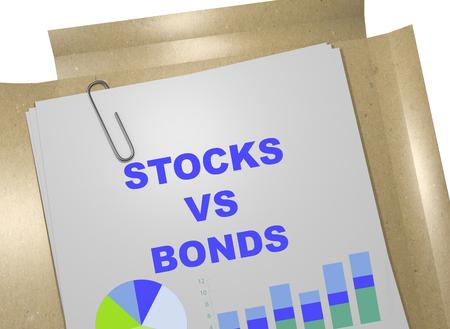 stockholder: 3D illustration of STOCKS VS BONDS title on business document