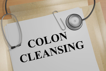 colitis: 3D illustration of COLON CLEANSING title on a medical document