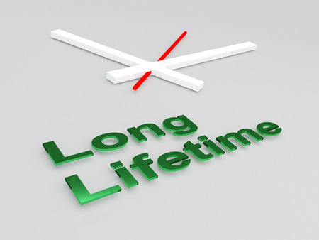3D illustration of Long Lifetime title with a clock as a background