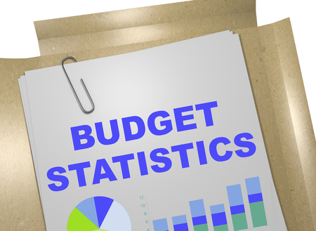 marginal: 3D illustration of BUDGET STATISTICS title on business document Stock Photo