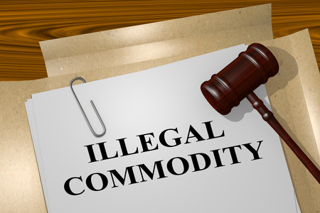 3D illustration of ILLEGAL COMMODITY title on legal document