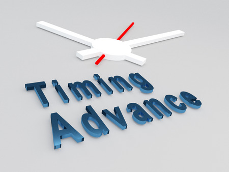 career timing: 3D illustration of Timing Advance title with a clock as a background