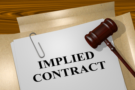 implied: 3D illustration of IMPLIED CONTRACT title on legal document