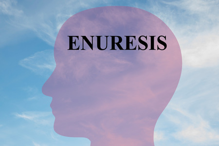 sphincter: Render illustration of ENURESIS title on head silhouette, with cloudy sky as a background.