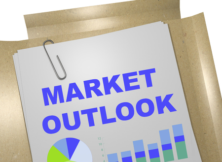 "3D illustration of ""MARKET OUTLOOK"" title on business document"