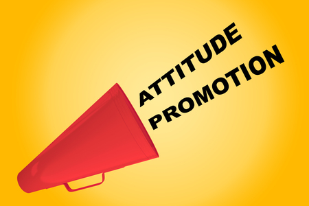 3D illustration of ATTITUDE PROMOTION title flowing from a loudspeaker