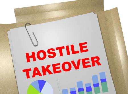 3D illustration of HOSTILE TAKEOVER title on business document