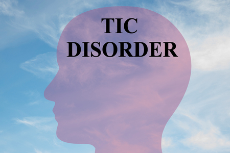 Render illustration of TIC DISORDER title on head silhouette, with cloudy sky as a background. Banco de Imagens