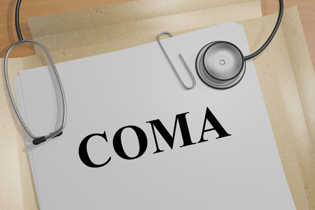 3D illustration of COMA title on a medical document