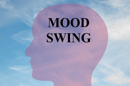 mania: Render illustration of MOOD SWING title on head silhouette, with cloudy sky as a background. Stock Photo