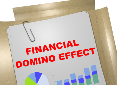 3D illustration of FINANCIAL DOMINO EFFECT title on business document