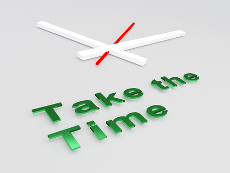 smart card: 3D illustration of Take the Time title with a clock as a background
