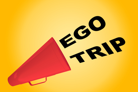 snotty: 3D illustration of EGO TRIP title flowing from a loudspeaker Stock Photo