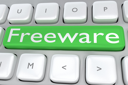 freeware: Render illustration of computer keyboard with the print Freeware on a green button Stock Photo