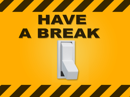 3D illustration of HAVE A BREAK title above an electric switch on yellow wall