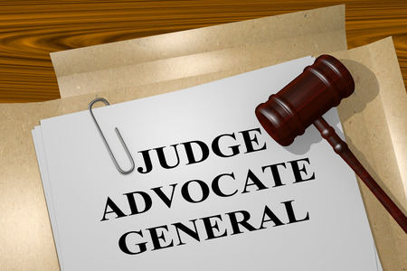 general: 3D illustration of JUDGE ADVOCATE GENERAL title on legal document Stock Photo