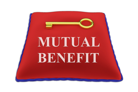 3D illustration of MUTUAL BENEFIT Title on red velvet pillow near a golden key, isolated on white.