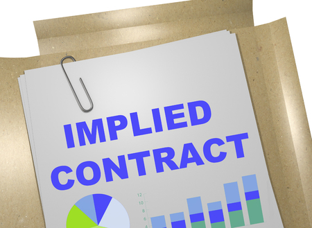 jubilation: 3D illustration of IMPLIED CONTRACT title on business document