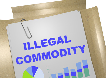 3D illustration of ILLEGAL COMMODITY title on business document