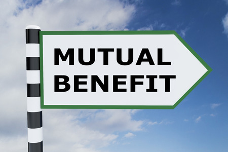 mutual help: 3D illustration of MUTUAL BENEFIT script on road sign