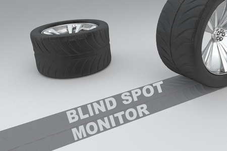 overlook: Blind spot monitor safety conceptual image of 3D rendered wheels with tires and sign over dark trace showing braking distances over grey background Stock Photo