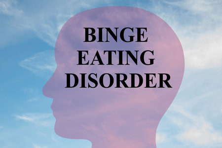 Render illustration of BINGE EATING DISORDER title on head silhouette, with cloudy sky as a background.