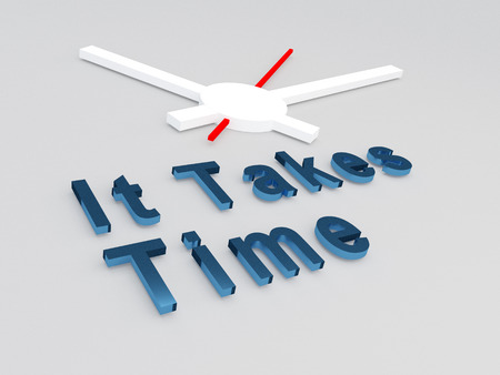 3D illustration of It Takes Time title with a clock as a background