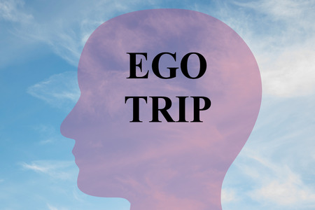 snotty: Render illustration of EGO TRIP title on head silhouette, with cloudy sky as a background. Stock Photo