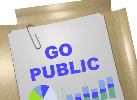 new ipo: 3D illustration of GO PUBLIC title on business document