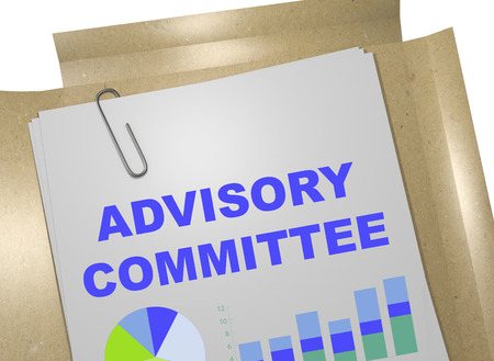 3D illustration of ADVISORY COMMITTEE title on business document