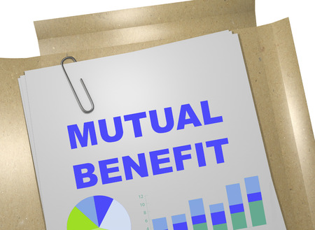 3D illustration of MUTUAL BENEFIT title on business document