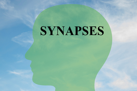 sensory receptor: Render illustration of SYNAPSES script on head silhouette, with cloudy sky as a background. Stock Photo