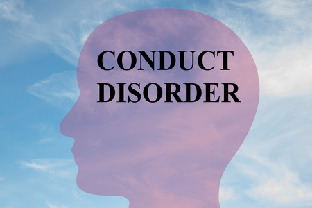 defiance: Render illustration of CONDUCT DISORDER title on head silhouette, with cloudy sky as a background.