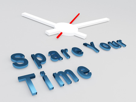 3D illustration of Spare your Time title with a clock as a background