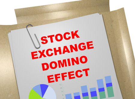 3D illustration of STOCK EXCHANGE DOMINO EFFECT title on business document Stock Photo