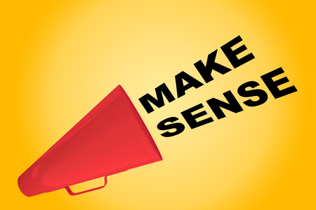 3D illustration of MAKE SENSE title flowing from a loudspeaker