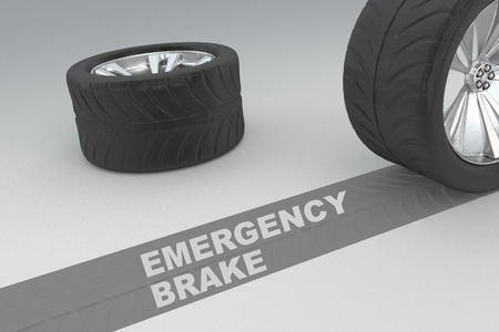 emergency braking: Emergency brake safety conceptual image of 3D rendered wheels with tires and sign over dark trace showing braking distances over grey background