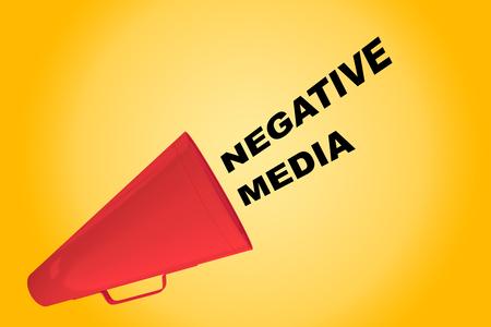 3D illustration of NEGATIVE MEDIA title flowing from a loudspeaker