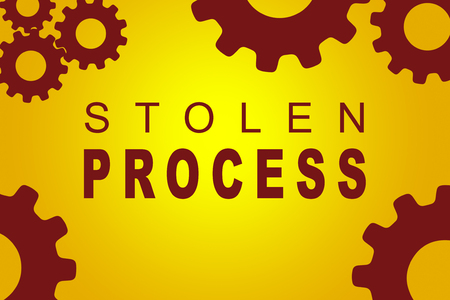 snooping: STOLEN PROCESS sign concept illustration with red gear wheel figures on yellow background Stock Photo