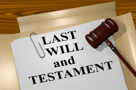 3D illustration of LAST WILL and TESTAMENT title on legal document