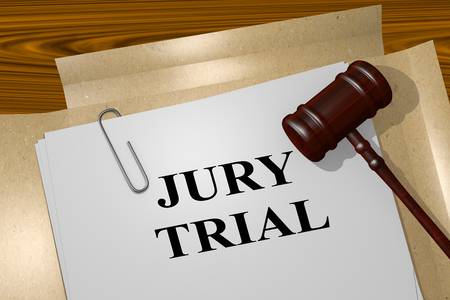 3D illustration of JURY TRIAL title on legal document Stock Photo