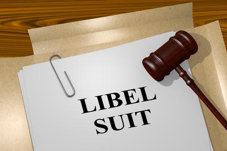 libel: 3D illustration of LIBEL SUIT title on legal document