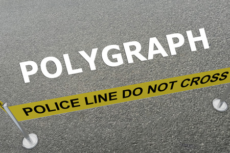 3D illustration of POLYGRAPH title on the ground in a police arena