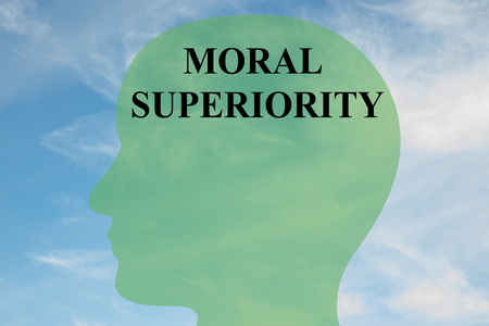 Render illustration of MORAL SUPERIORITY script on head silhouette, with cloudy sky as a background.