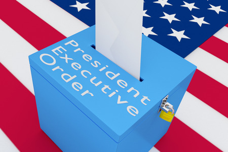 official ballot: 3D illustration of President Executive Order script on a ballot box, with US flag as a background.
