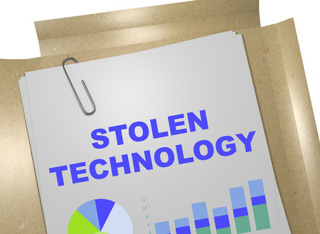 classified: 3D illustration of STOLEN TECHNOLOGY title on business document Stock Photo