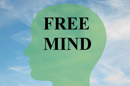Render illustration of FREE MIND script on head silhouette, with cloudy sky as a background.