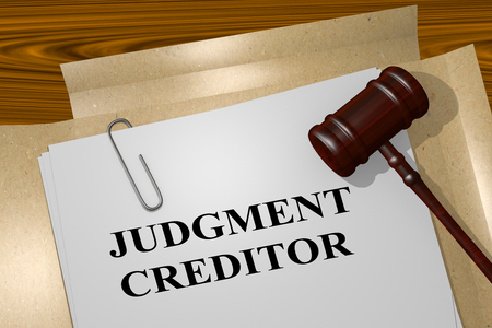 3D illustration of JUDGMENT CREDITOR title on legal document