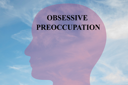 Render illustration of OBSESSIVE PREOCCUPATION title on head silhouette, with cloudy sky as a background. Stock Photo