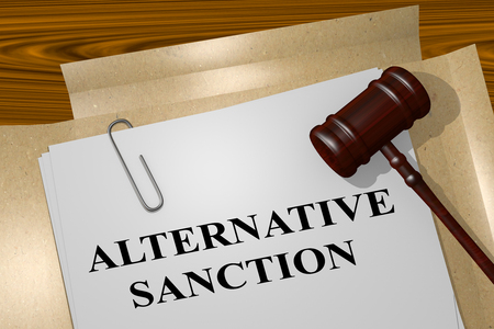 sanction: 3D illustration of ALTERNATIVE SANCTION title on legal document